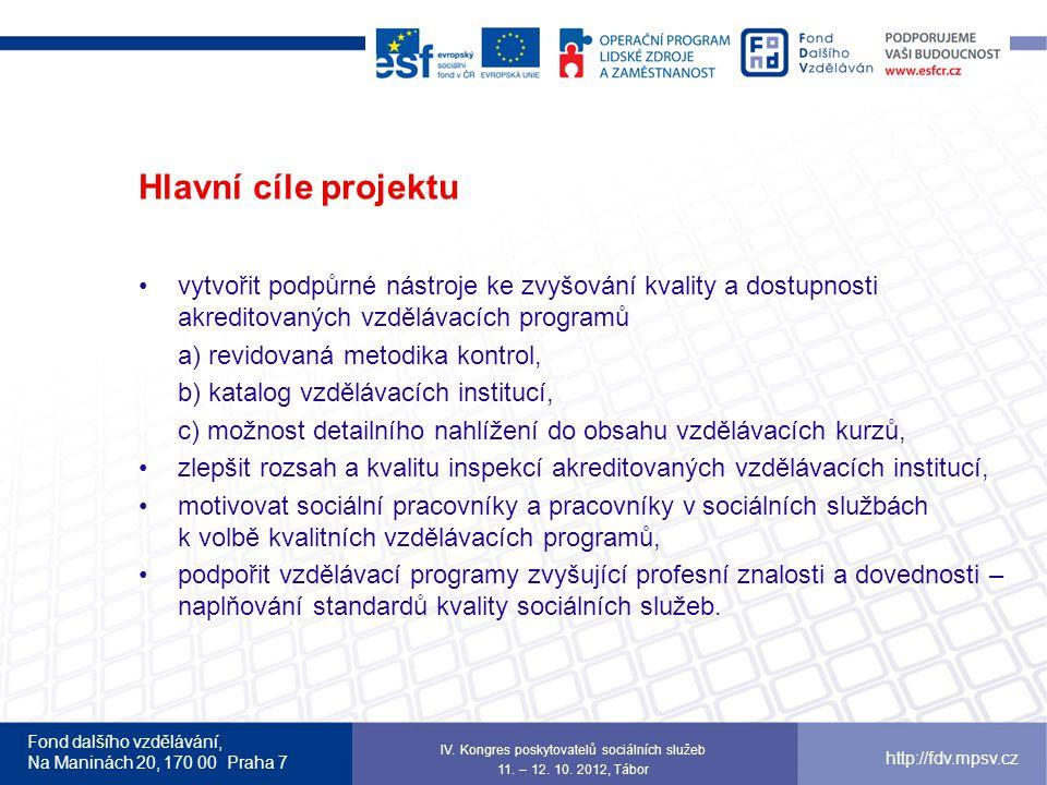 Fond dalšího vzdělávání, Na Maninách 20, 170 00 Praha 7 http://fdv.mpsv.cz Hlavní cíle projektu vytvořit podpůrné nástroje ke zvyšování kvality a dost