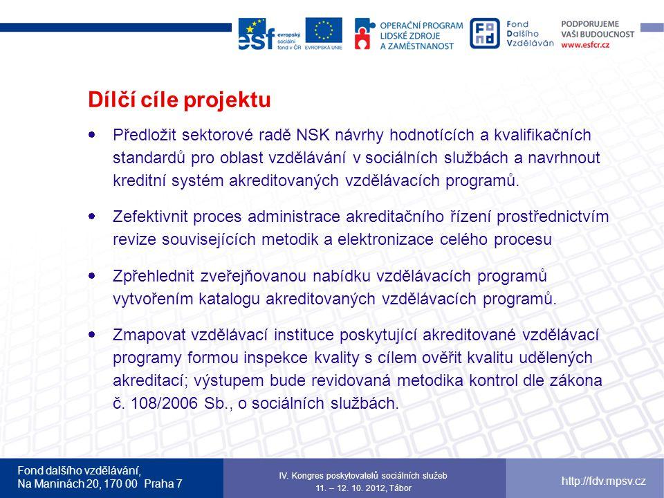 Fond dalšího vzdělávání, Na Maninách 20, 170 00 Praha 7 http://fdv.mpsv.cz Dílčí cíle projektu  Předložit sektorové radě NSK návrhy hodnotících a kva