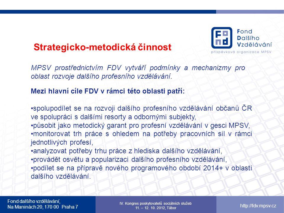 Fond dalšího vzdělávání, Na Maninách 20, 170 00 Praha 7 IV. Kongres poskytovatelů sociálních služeb 11. – 12. 10. 2012, Tábor http://fdv.mpsv.cz MPSV
