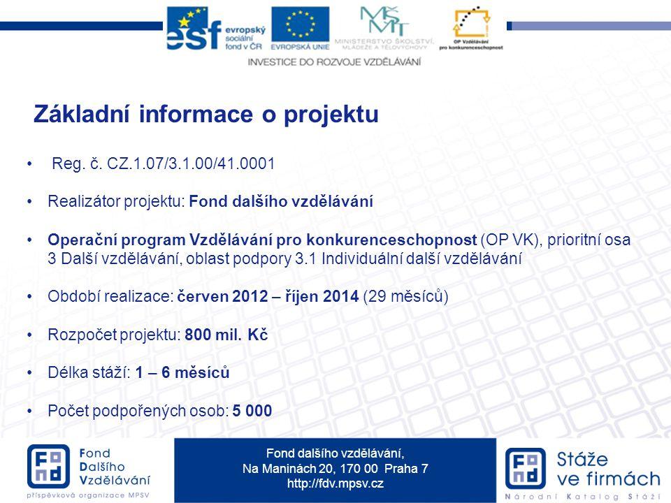 Fond dalšího vzdělávání, Na Maninách 20, 170 00 Praha 7 http://fdv.mpsv.cz Základní informace o projektu Reg. č. CZ.1.07/3.1.00/41.0001 Realizátor pro