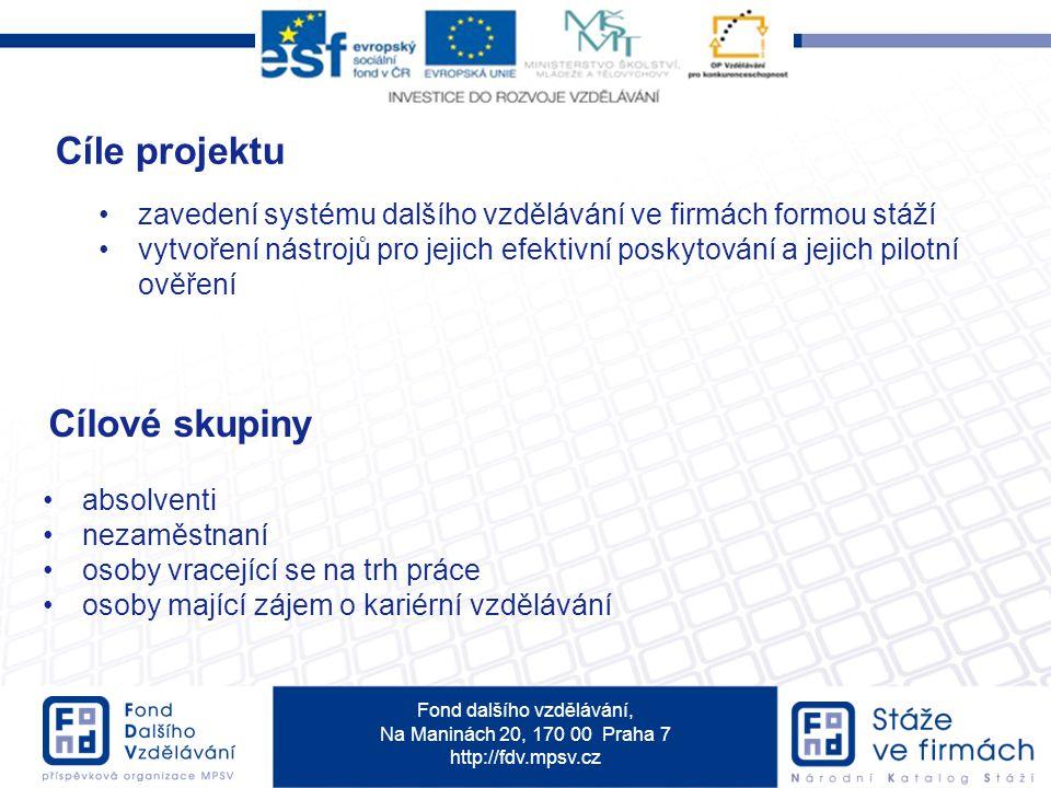 Fond dalšího vzdělávání, Na Maninách 20, 170 00 Praha 7 http://fdv.mpsv.cz Cíle projektu zavedení systému dalšího vzdělávání ve firmách formou stáží v