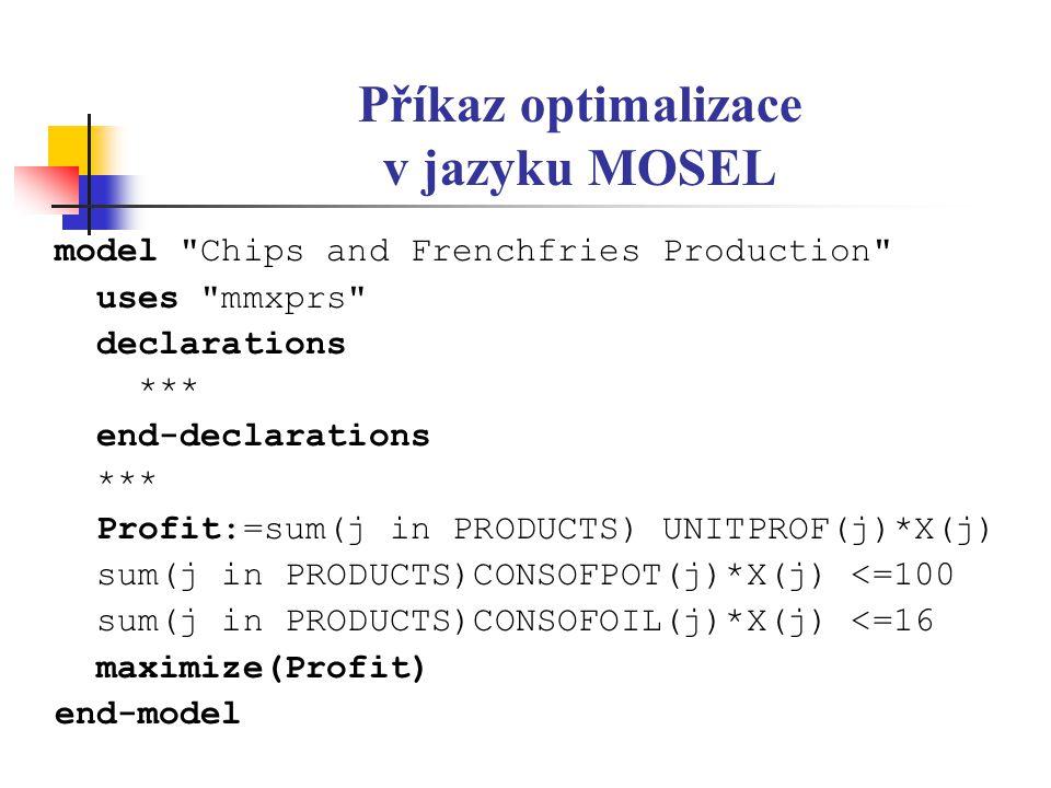 Příkaz optimalizace v jazyku MOSEL model