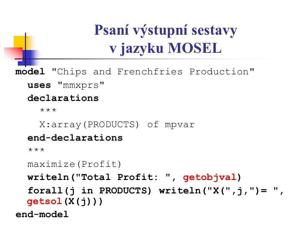 Psaní výstupní sestavy v jazyku MOSEL model