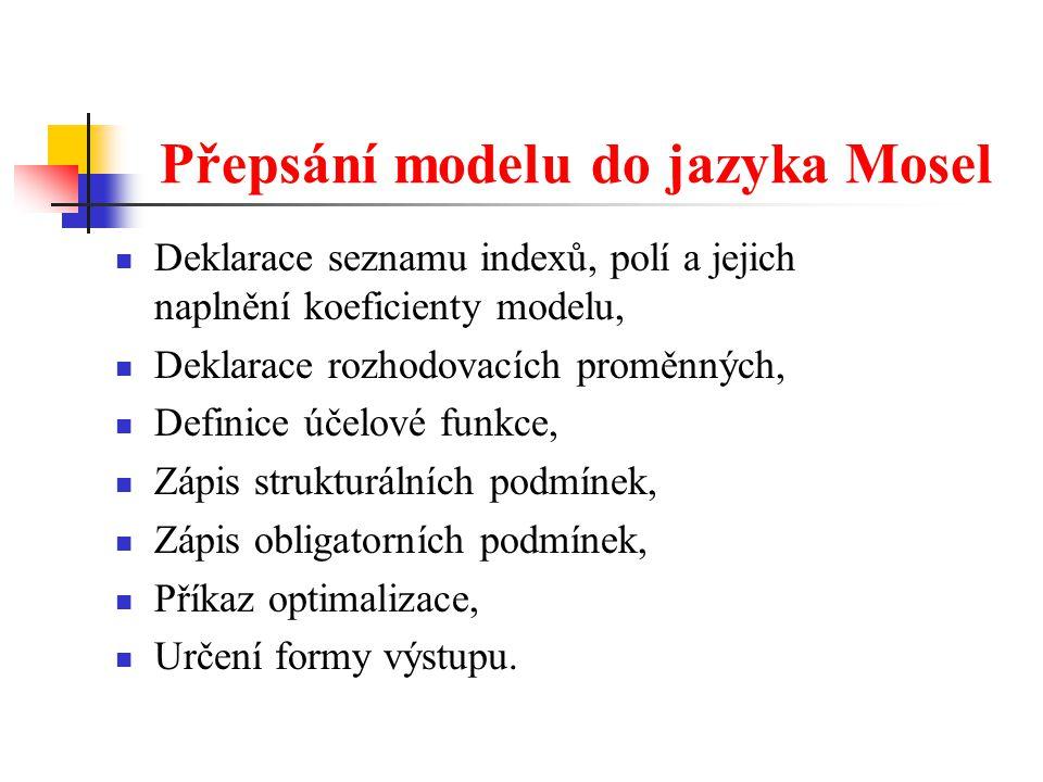 Přepsání modelu do jazyka Mosel Deklarace seznamu indexů, polí a jejich naplnění koeficienty modelu, Deklarace rozhodovacích proměnných, Definice účel