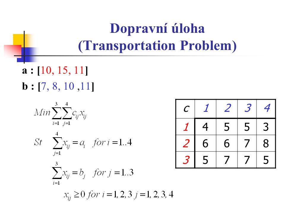 Dopravní úloha (Transportation Problem) a : [10, 15, 11] b : [7, 8, 10,11] c1234 14553 26678 35775