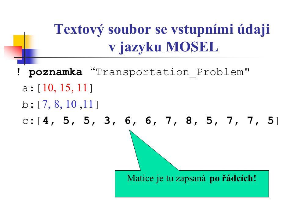 """Textový soubor se vstupními údaji v jazyku MOSEL ! poznamka """" Transportation_Problem"""