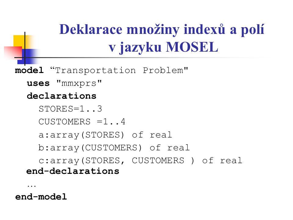 """Deklarace množiny indexů a polí v jazyku MOSEL model """" Transportation Problem"""