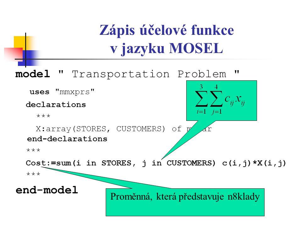 Zápis účelové funkce v jazyku MOSEL model