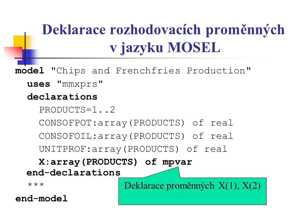 Deklarace rozhodovacích proměnných v jazyku MOSEL model