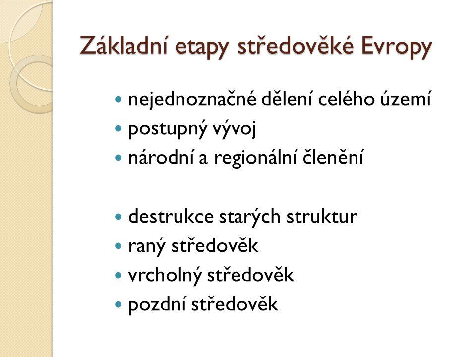Základní etapy středověké Evropy nejednoznačné dělení celého území postupný vývoj národní a regionální členění destrukce starých struktur raný středov