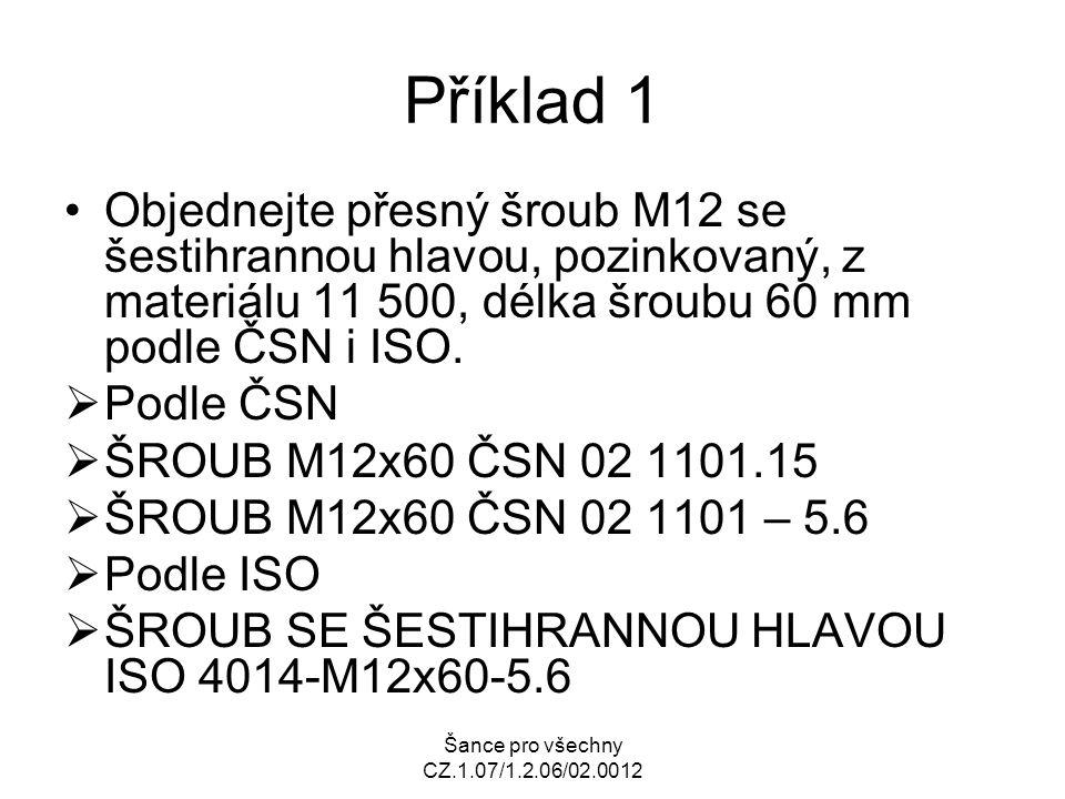 Šance pro všechny CZ.1.07/1.2.06/02.0012 Příklad 1 Objednejte přesný šroub M12 se šestihrannou hlavou, pozinkovaný, z materiálu 11 500, délka šroubu 6