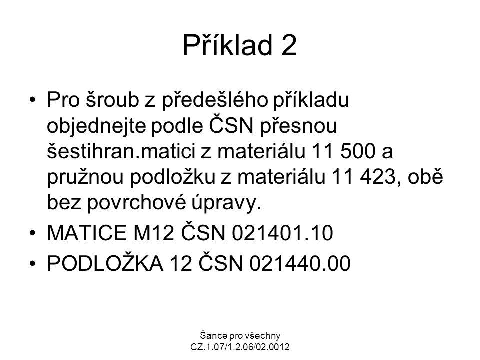 Šance pro všechny CZ.1.07/1.2.06/02.0012 Příklad 2 Pro šroub z předešlého příkladu objednejte podle ČSN přesnou šestihran.matici z materiálu 11 500 a
