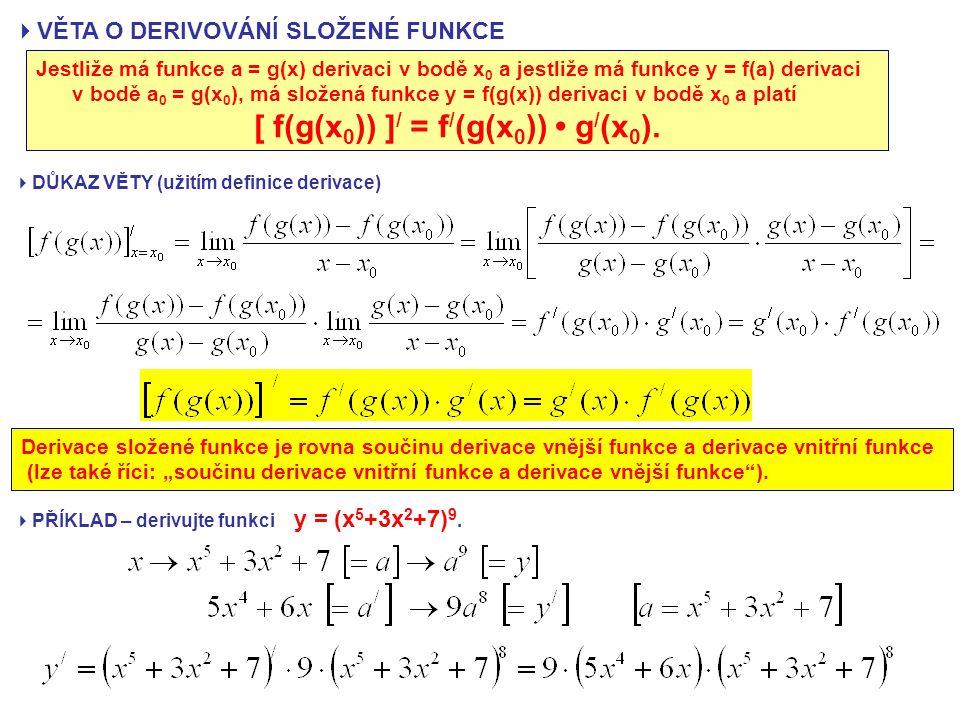  VĚTA O DERIVOVÁNÍ SLOŽENÉ FUNKCE Jestliže má funkce a = g(x) derivaci v bodě x 0 a jestliže má funkce y = f(a) derivaci v bodě a 0 = g(x 0 ), má složená funkce y = f(g(x)) derivaci v bodě x 0 a platí [ f(g(x 0 )) ] / = f / (g(x 0 )) g / (x 0 ).