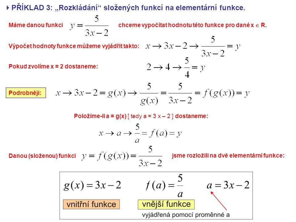 """ PŘÍKLAD 3: """"Rozkládání složených funkcí na elementární funkce."""