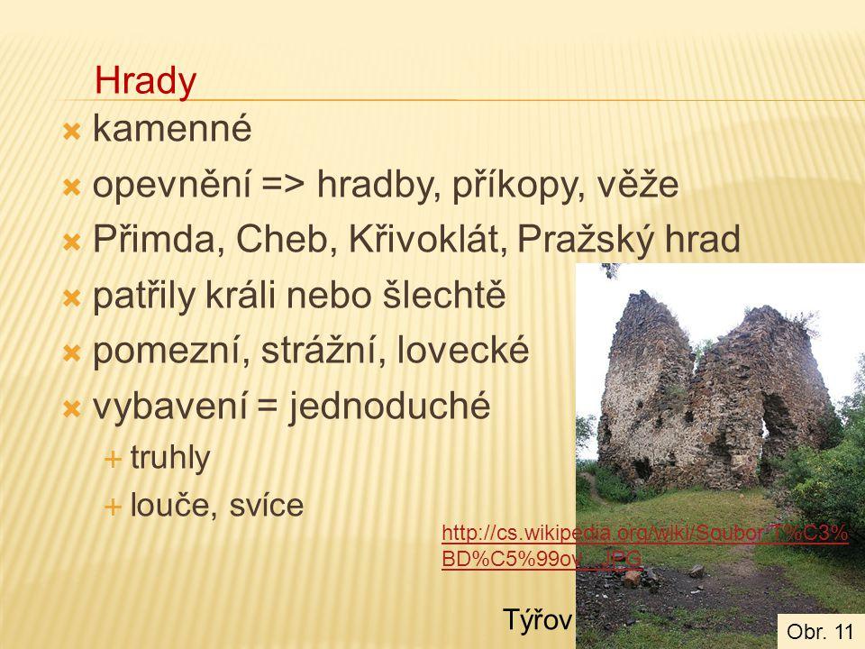 kamenné  opevnění => hradby, příkopy, věže  Přimda, Cheb, Křivoklát, Pražský hrad  patřily králi nebo šlechtě  pomezní, strážní, lovecké  vybavení = jednoduché  truhly  louče, svíce Hrady http://cs.wikipedia.org/wiki/Soubor:T%C3% BD%C5%99ov_.JPG Týřov Obr.