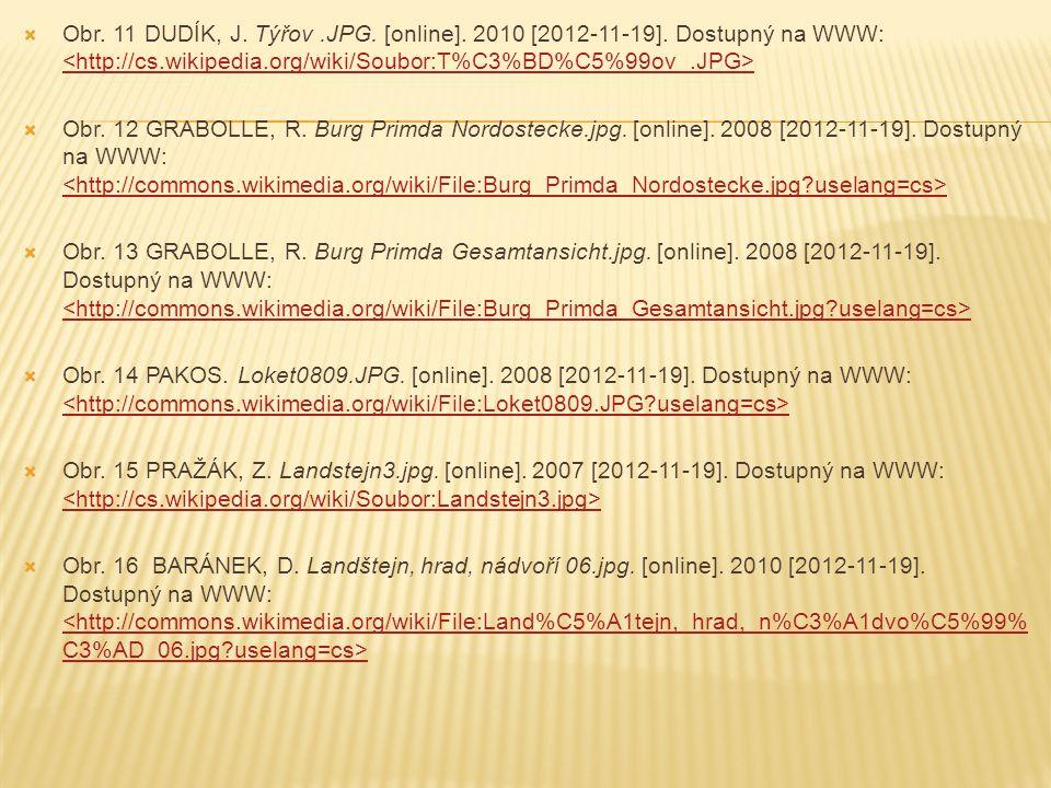  Obr. 11 DUDÍK, J. Týřov.JPG. [online]. 2010 [2012-11-19]. Dostupný na WWW:  Obr. 12 GRABOLLE, R. Burg Primda Nordostecke.jpg. [online]. 2008 [2012-