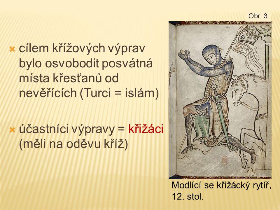  cílem křížových výprav bylo osvobodit posvátná místa křesťanů od nevěřících (Turci = islám)  účastníci výpravy = křižáci (měli na oděvu kříž) Modlí