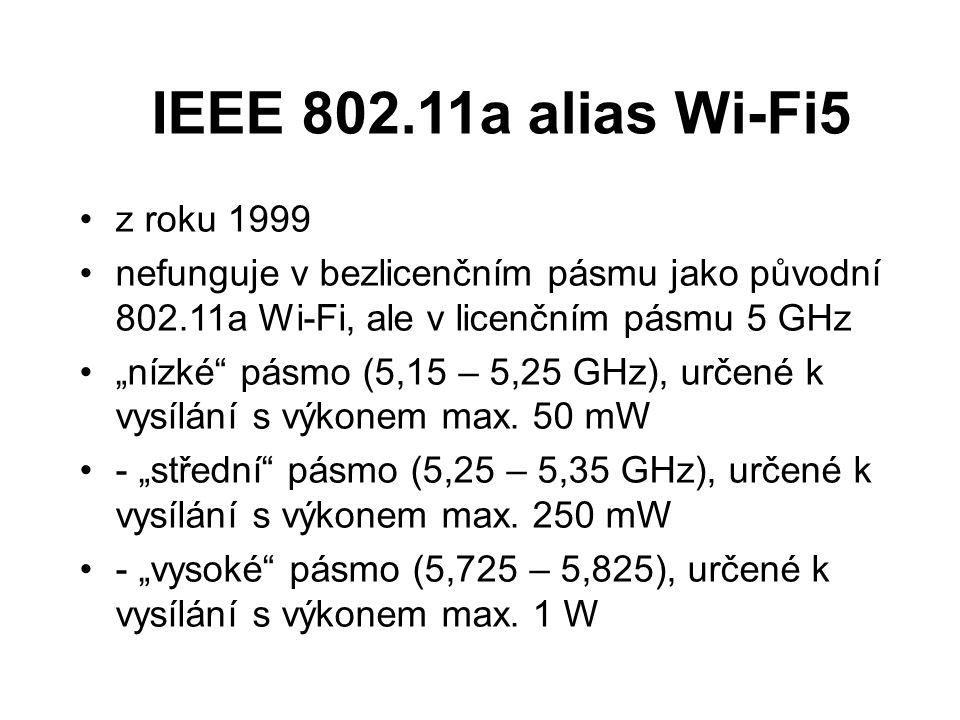 """IEEE 802.11a alias Wi-Fi5 z roku 1999 nefunguje v bezlicenčním pásmu jako původní 802.11a Wi-Fi, ale v licenčním pásmu 5 GHz """"nízké"""" pásmo (5,15 – 5,2"""