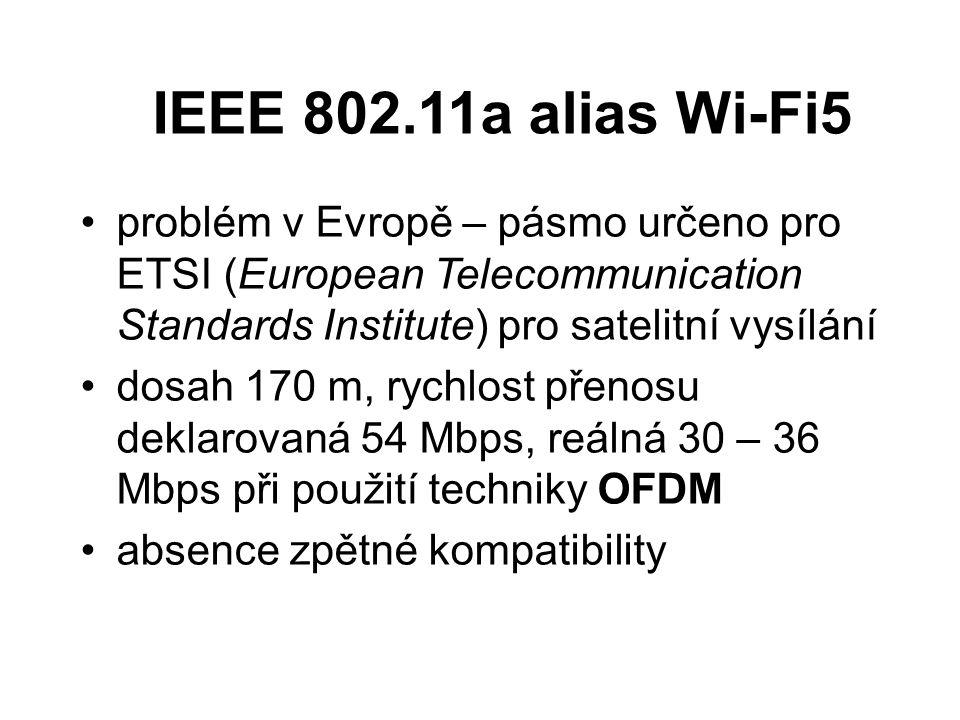IEEE 802.11a alias Wi-Fi5 problém v Evropě – pásmo určeno pro ETSI (European Telecommunication Standards Institute) pro satelitní vysílání dosah 170 m