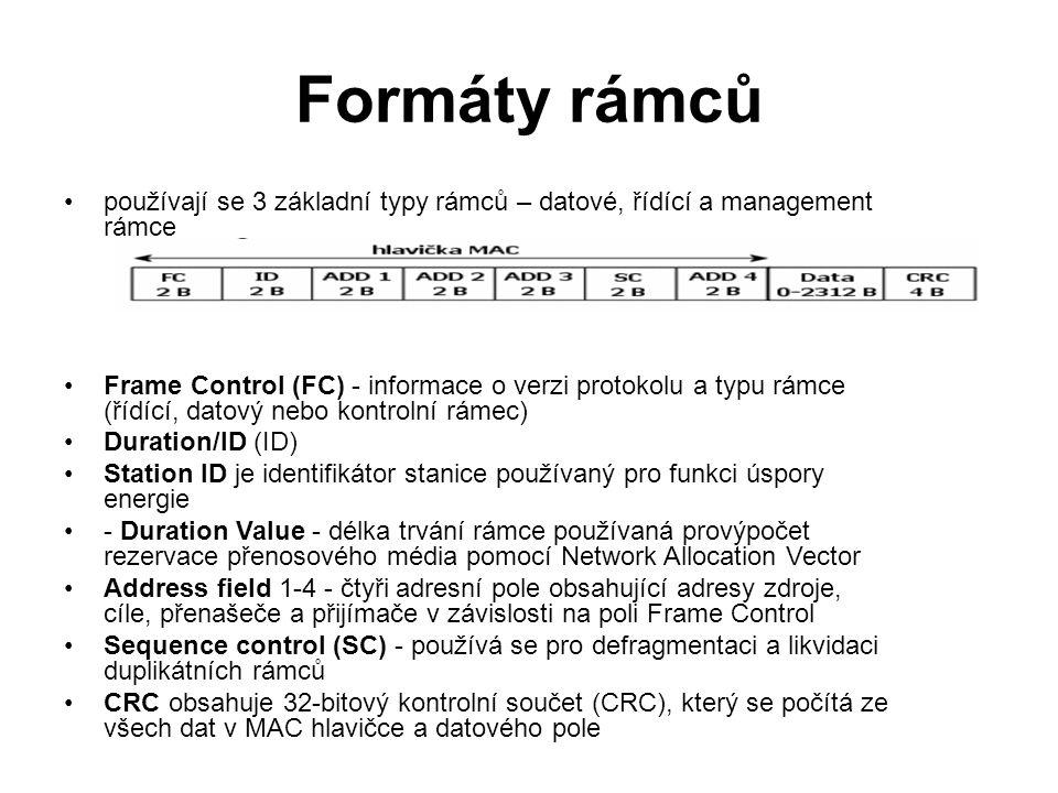 Formáty rámců používají se 3 základní typy rámců – datové, řídící a management rámce Frame Control (FC) - informace o verzi protokolu a typu rámce (ří