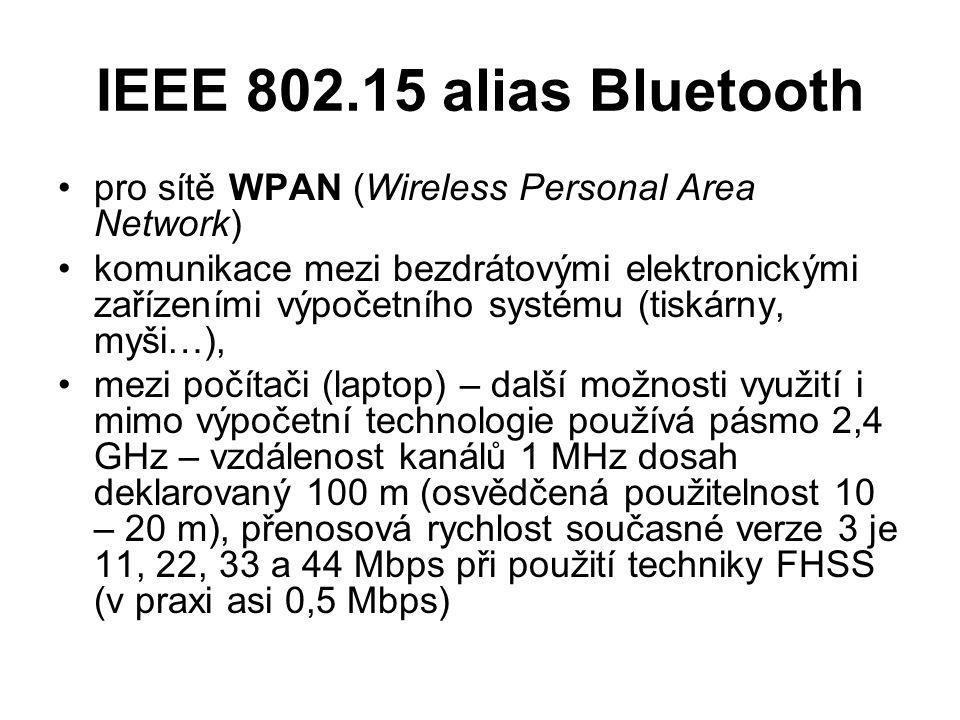 IEEE 802.15 alias Bluetooth pro sítě WPAN (Wireless Personal Area Network) komunikace mezi bezdrátovými elektronickými zařízeními výpočetního systému