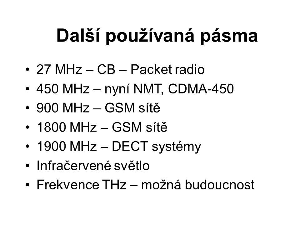 Další používaná pásma 27 MHz – CB – Packet radio 450 MHz – nyní NMT, CDMA-450 900 MHz – GSM sítě 1800 MHz – GSM sítě 1900 MHz – DECT systémy Infračerv