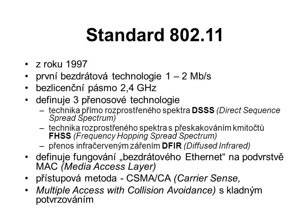 Standard 802.11 z roku 1997 první bezdrátová technologie 1 – 2 Mb/s bezlicenční pásmo 2,4 GHz definuje 3 přenosové technologie –technika přímo rozpros