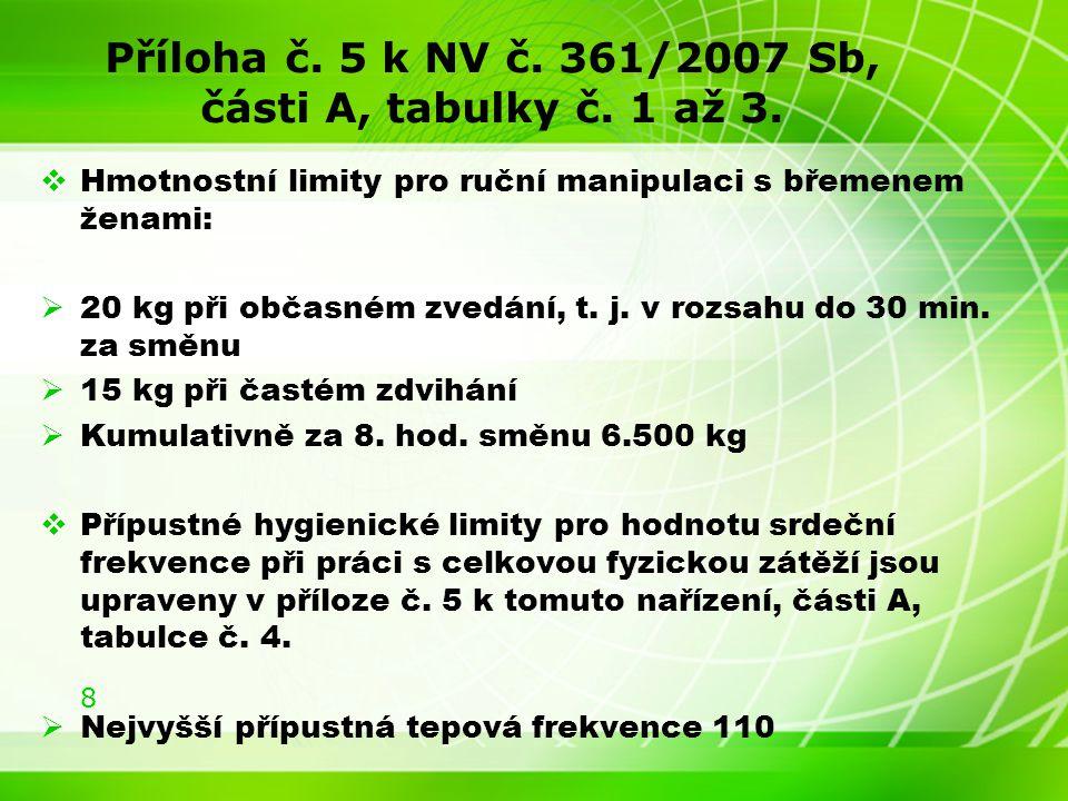 8 Příloha č. 5 k NV č. 361/2007 Sb, části A, tabulky č.