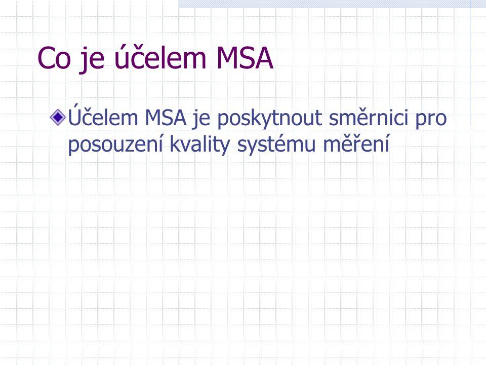 Co je účelem MSA Účelem MSA je poskytnout směrnici pro posouzení kvality systému měření