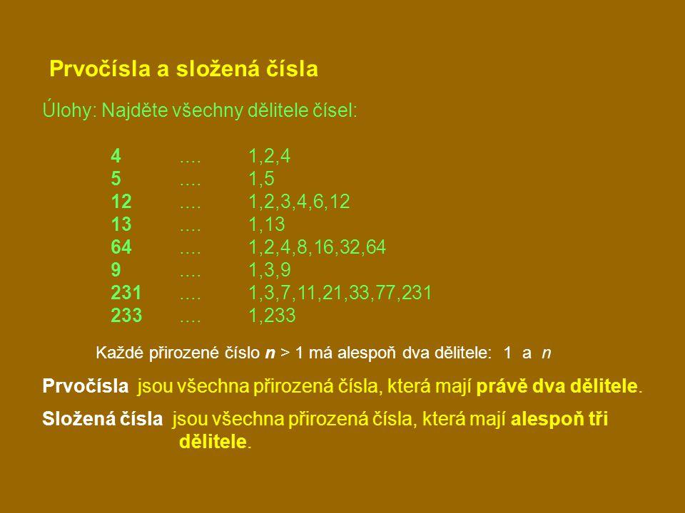 Prvočísla a složená čísla Úlohy: Najděte všechny dělitele čísel: 4....1,2,4 5....1,5 12....1,2,3,4,6,12 13....1,13 64....1,2,4,8,16,32,64 9....1,3,9 2