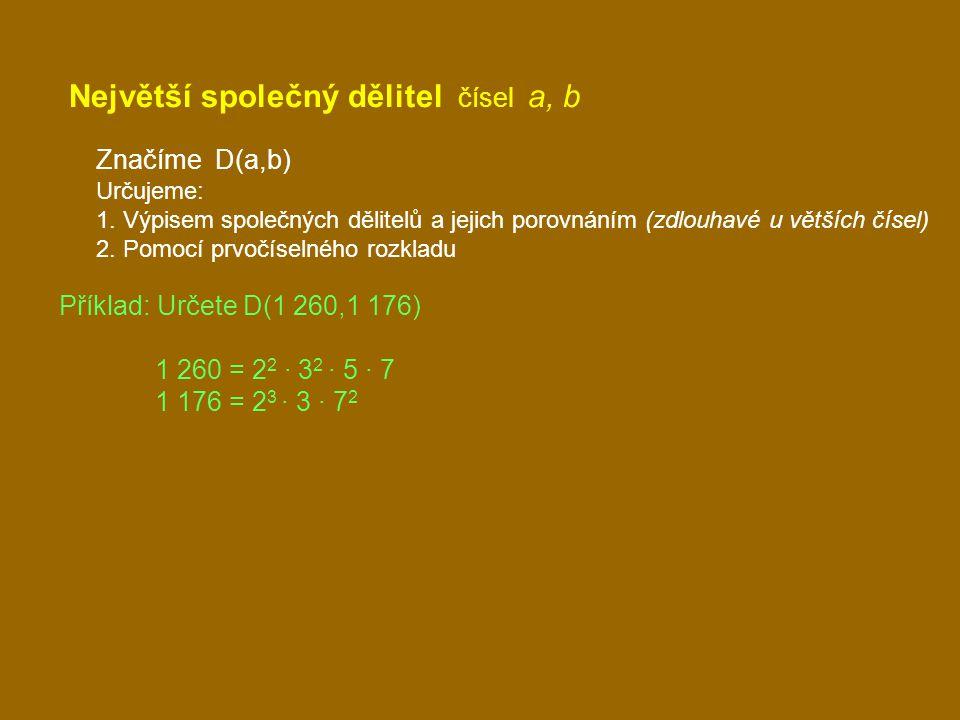 Největší společný dělitel čísel a, b Značíme D(a,b) Určujeme: 1. Výpisem společných dělitelů a jejich porovnáním (zdlouhavé u větších čísel) 2. Pomocí