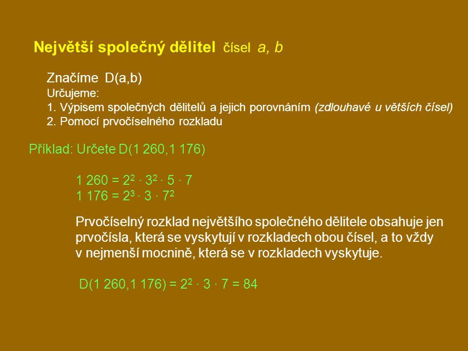 Největší společný dělitel čísel a, b Značíme D(a,b) Určujeme: 1.