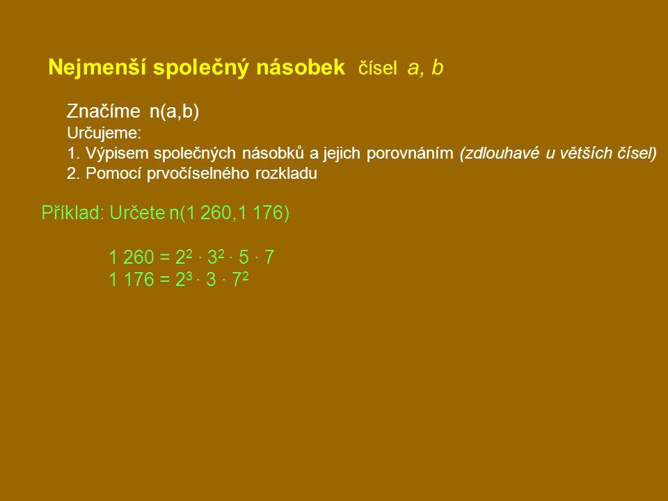 Nejmenší společný násobek čísel a, b Značíme n(a,b) Určujeme: 1. Výpisem společných násobků a jejich porovnáním (zdlouhavé u větších čísel) 2. Pomocí