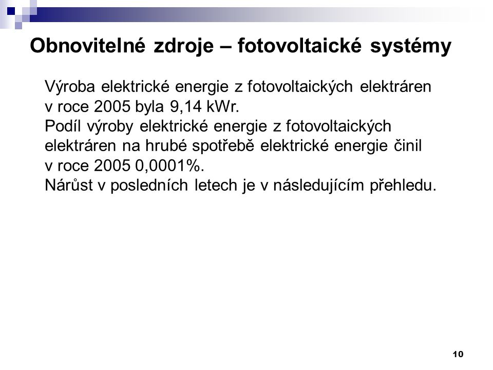 10 Obnovitelné zdroje – fotovoltaické systémy Výroba elektrické energie z fotovoltaických elektráren v roce 2005 byla 9,14 kWr. Podíl výroby elektrick