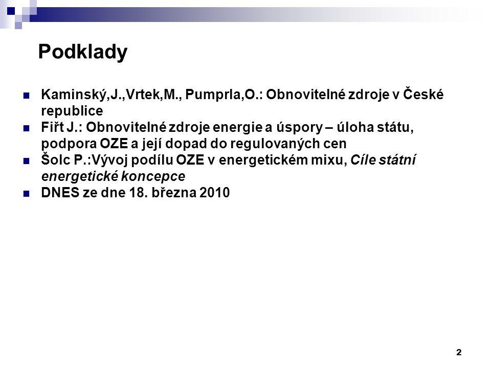 2 Podklady Kaminský,J.,Vrtek,M., Pumprla,O.: Obnovitelné zdroje v České republice Fiřt J.: Obnovitelné zdroje energie a úspory – úloha státu, podpora