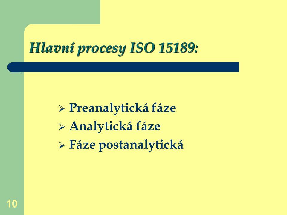 10 Hlavní procesy ISO 15189:  Preanalytická fáze  Analytická fáze  Fáze postanalytická