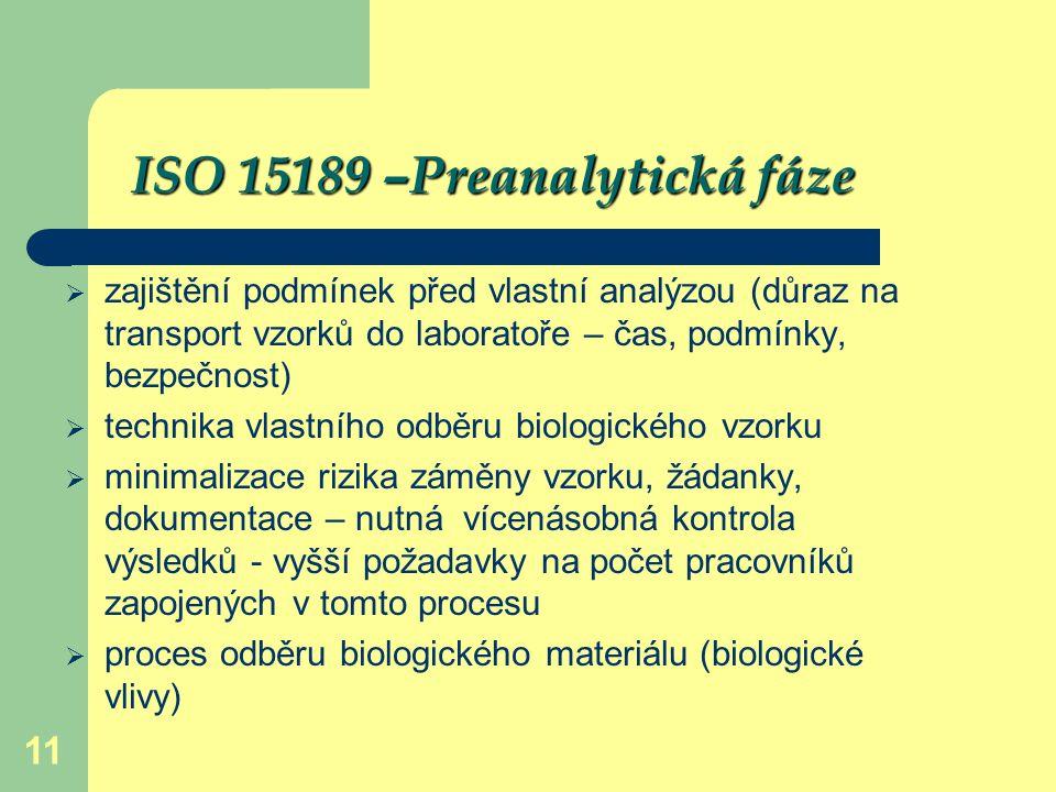 11 ISO 15189 –Preanalytická fáze  zajištění podmínek před vlastní analýzou (důraz na transport vzorků do laboratoře – čas, podmínky, bezpečnost)  te
