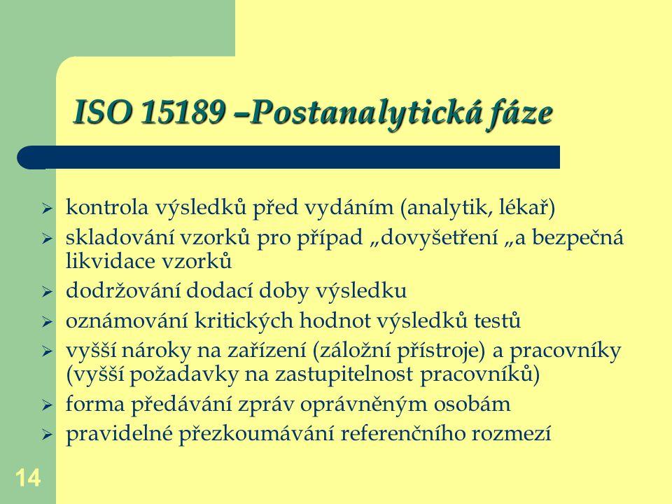 """14 ISO 15189 –Postanalytická fáze  kontrola výsledků před vydáním (analytik, lékař)  skladování vzorků pro případ """"dovyšetření """"a bezpečná likvidace"""