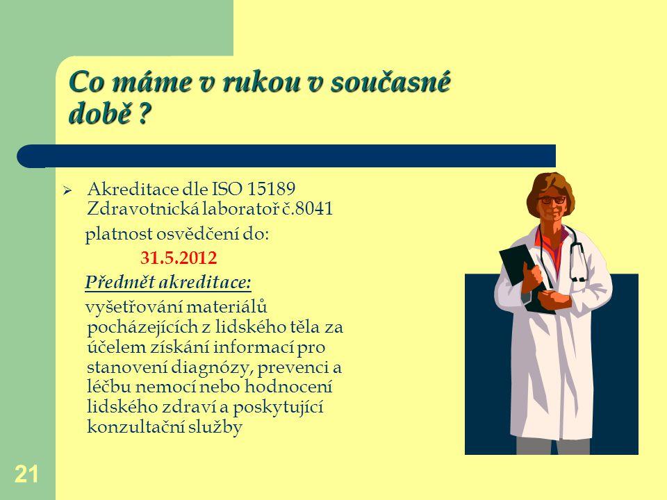 21 Co máme v rukou v současné době ?  Akreditace dle ISO 15189 Zdravotnická laboratoř č.8041 platnost osvědčení do: 31.5.2012 Předmět akreditace: vyš