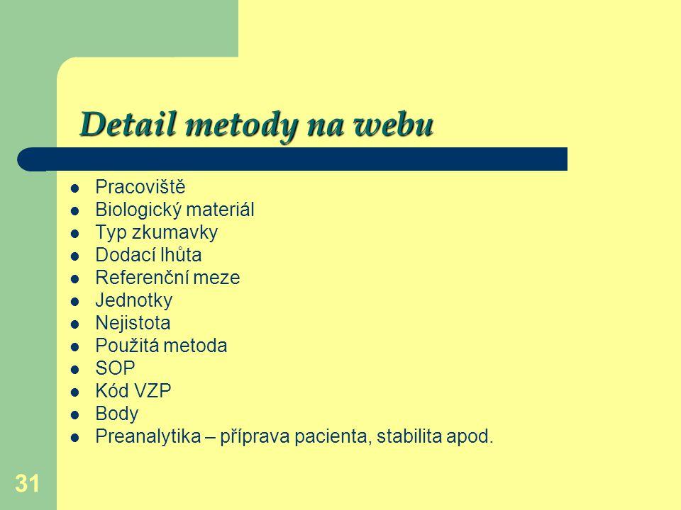 31 Detail metody na webu Pracoviště Biologický materiál Typ zkumavky Dodací lhůta Referenční meze Jednotky Nejistota Použitá metoda SOP Kód VZP Body P