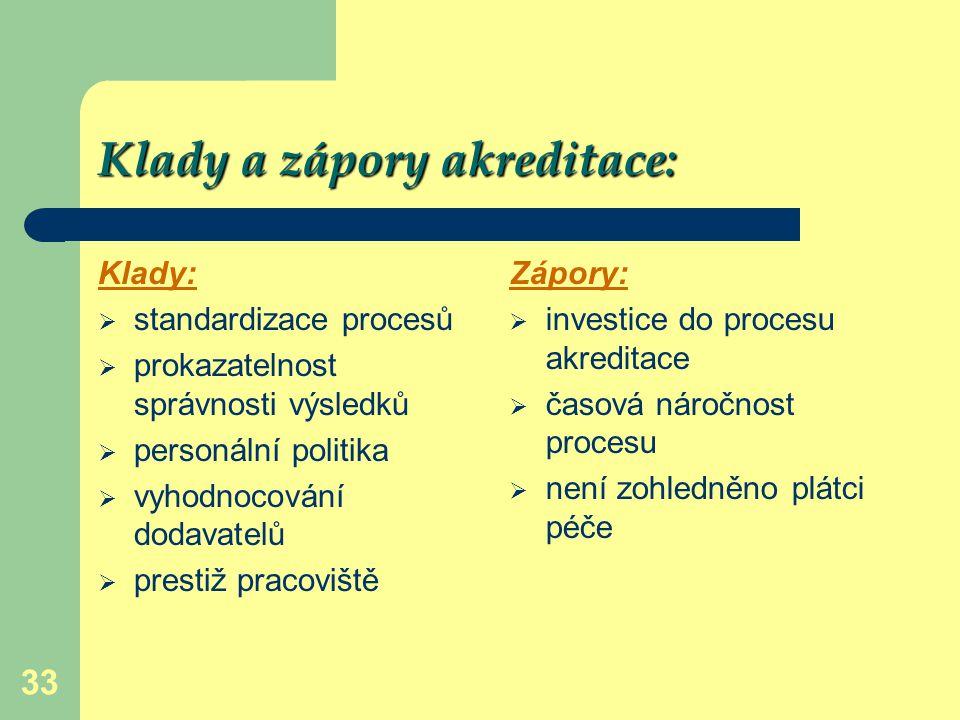 33 Klady a zápory akreditace: Klady:  standardizace procesů  prokazatelnost správnosti výsledků  personální politika  vyhodnocování dodavatelů  p