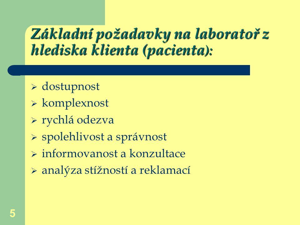 5 Základní požadavky na laboratoř z hlediska klienta (pacienta ):  dostupnost  komplexnost  rychlá odezva  spolehlivost a správnost  informovanos