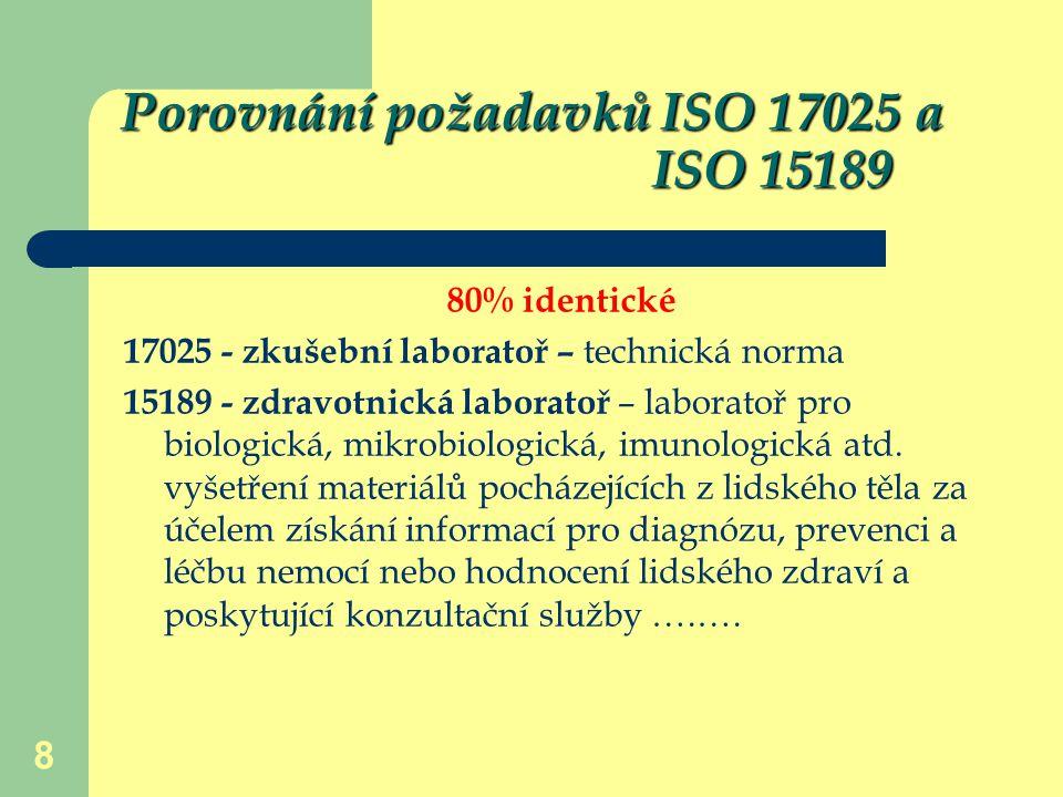 8 Porovnání požadavků ISO 17025 a ISO 15189 80% identické 17025 - zkušební laboratoř – technická norma 15189 - zdravotnická laboratoř – laboratoř pro