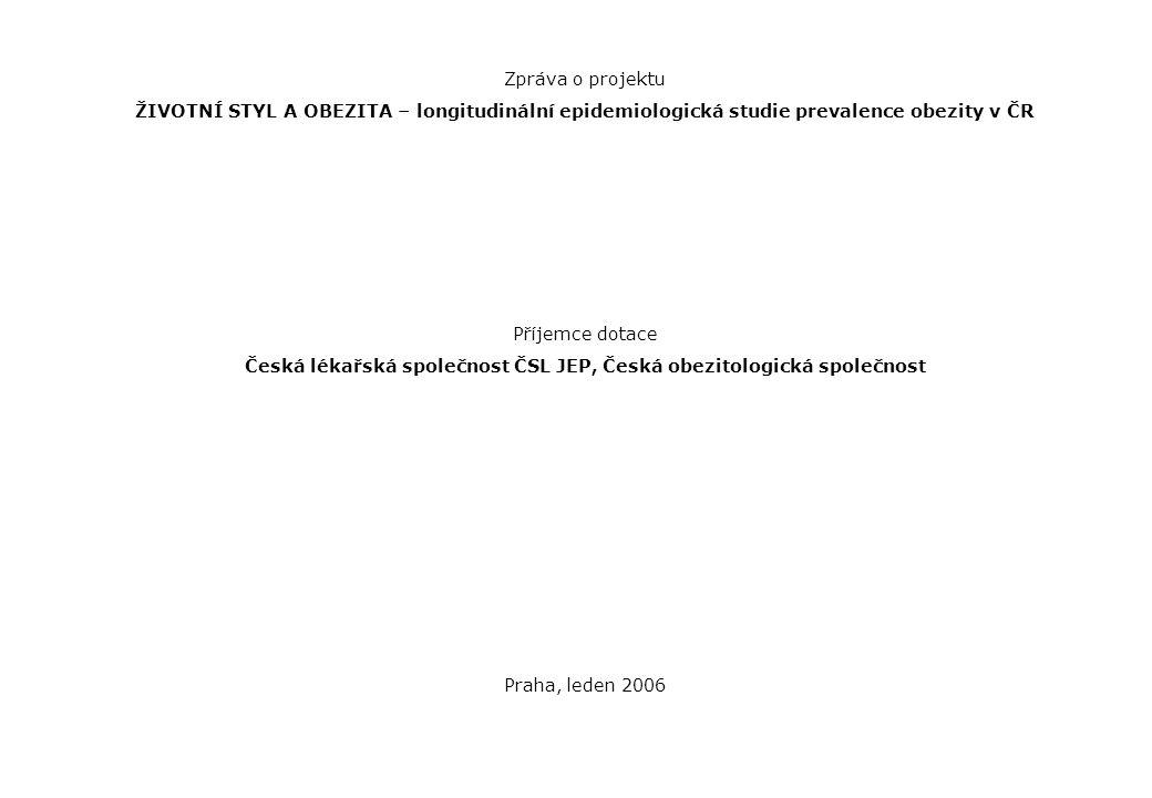Zpráva o projektu ŽIVOTNÍ STYL A OBEZITA – longitudinální epidemiologická studie prevalence obezity v ČR Příjemce dotace Česká lékařská společnost ČSL