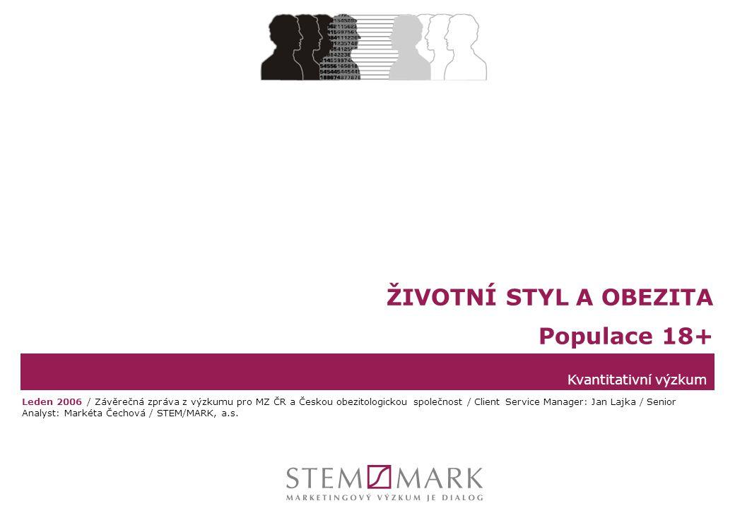 STEM/MARK, a.s.Životní styl a obezita v ČR, leden 2006strana 12 Obvod pasu - alternativní ukazatel nadváhy Definice  Alternativním ukazatelem nadváhy je hodnocení podle obvodu pasu.