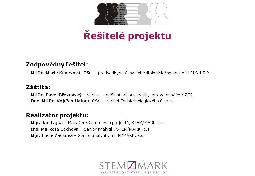 Řešitelé projektu Zodpovědný řešitel: MUDr. Marie Kunešová, CSc. – předsedkyně České obezitologické společnosti ČLS J.E.P Záštita: MUDr. Pavel Březovs