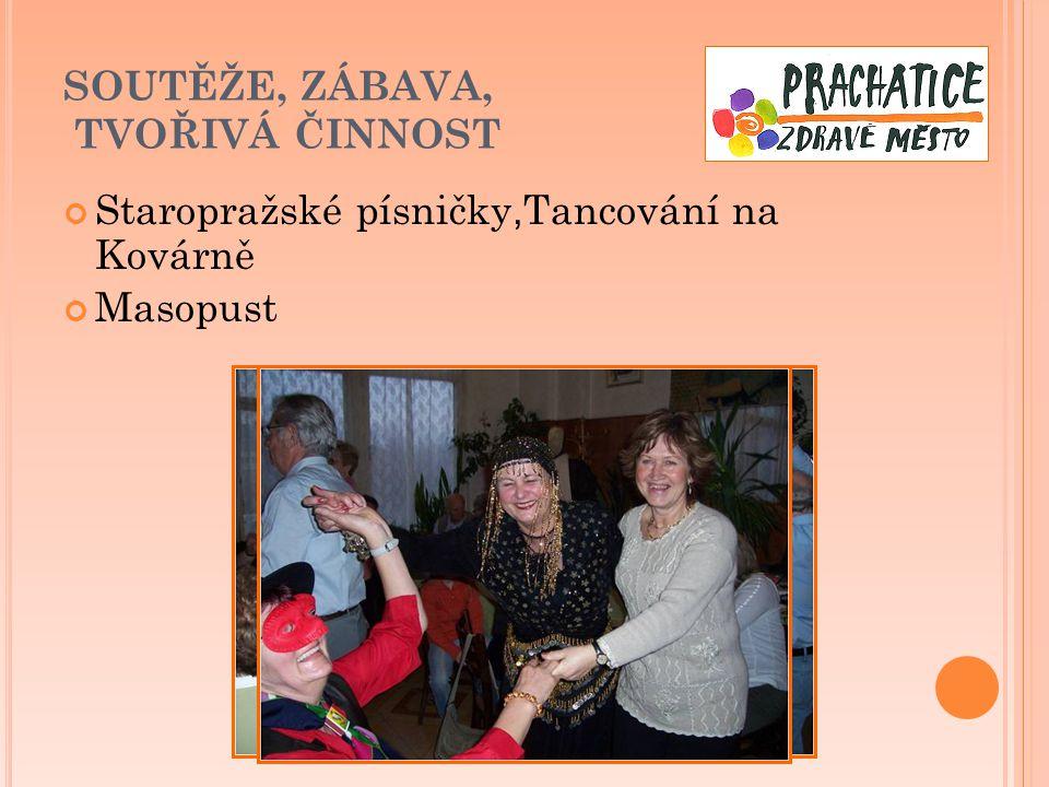 SOUTĚŽE, ZÁBAVA, TVOŘIVÁ ČINNOST Staropražské písničky, Tancování na Kovárně Masopust