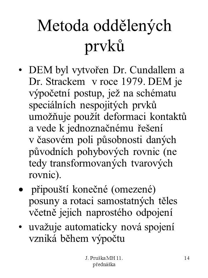 J. Pruška MH 11. přednáška 14 Metoda oddělených prvků DEM byl vytvořen Dr. Cundallem a Dr. Strackem v roce 1979. DEM je výpočetní postup, jež na schém