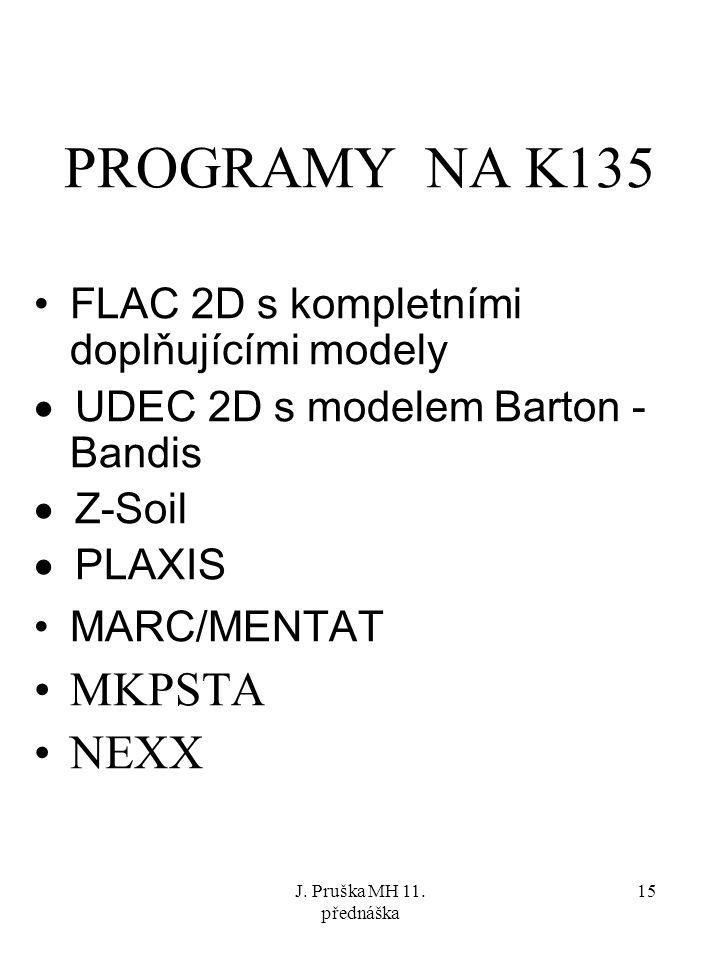 J. Pruška MH 11. přednáška 15 PROGRAMY NA K135 FLAC 2D s kompletními doplňujícími modely  UDEC 2D s modelem Barton - Bandis  Z-Soil  PLAXIS MARC/ME