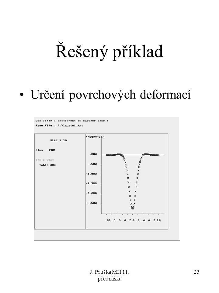 J. Pruška MH 11. přednáška 23 Řešený příklad Určení povrchových deformací